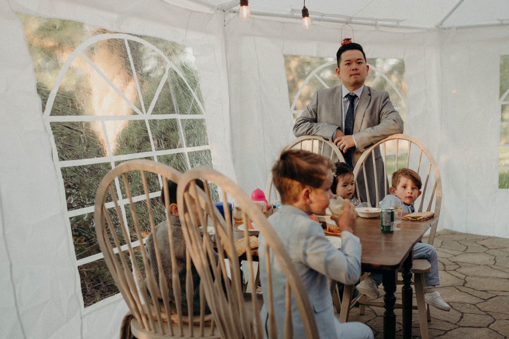 Kids table at outdoor tent reception