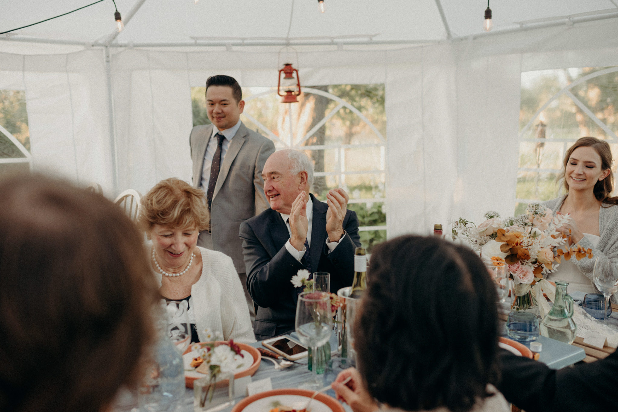 intimate tent wedding reception at Good Family Farms